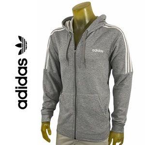 Adidas Fleece Track Jacket in Grey & White